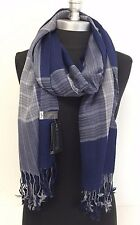NEW Men's 100% Cotton Scarf Classic Shawl Silky Soft Wrap Fringe Plaid Navy/Gray