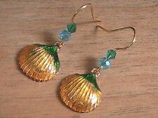 shell earrings blessed Atlantis beach hand painted made ocean sea yellow green+
