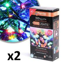 2 x Premier 10M 100 Multi- Action Battery Operated LED Lights, Multicolour LB112