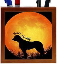 Rikki Knight Bull Mastiff Dog Silhouette by Moon Design 5-Inch Wooden Pen Holder