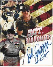 SGT SLAUGHTER GI JOE WWF WWE HOF LEGEND SIGNED AUTOGRAPH 8X10 PHOTO
