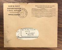 4-8-1944 WWII V-Mail Letter With Envelope War & Navy Rare Vintage War