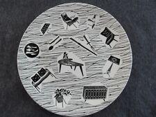"""Vintage 1950s Ridgway Homemaker dinner plate 10"""" retro black and white design"""