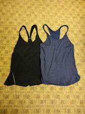 Lululemon Lot Of 2 Black Blue Nylon Blend Casual Racerback Tops Size 8 Hh2052