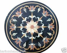 """24"""" Black Marble Side Corner Table Top Real Stone Mosaic Inlay Patio Decor H1530"""