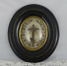 Antique French Victorian Mourning Hair Art Ebony Frame Reliquary Crucifix