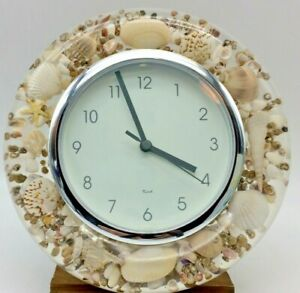 """Silver and Seashell Acrylic Lucite Wall Clock 9"""" diameter"""