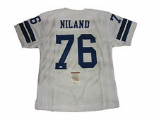 John Niland Autographed White Dallas Cowboys Football Jersey #1, JSA