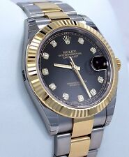 Rolex Datejust 41mm 126333 Oyster 18K Yellow Gold/SS Diamond Dial Watch*NEW*