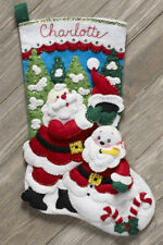 "Bucilla Santa's Snowman ~ 18"" Felt Christmas Stocking Kit #86862, Frosty, Claus"