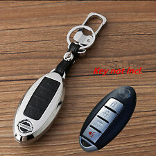 New Black alloy 4 Buttons Leather Smart Remote Key Cover Holder Fob for Nissan