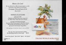 TWA TRANS WORLD 1987 COACH MENU/POSTCARD PUERTO RICO GREAT DESTINATIONS