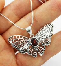 Unusual Solid Sterling 925 Silver, Red Garnet Butterfly Pendant Necklace, + box