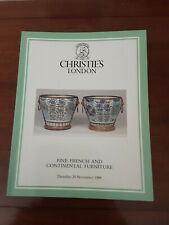 CHRISTIE'S CATALOGUE Fine FRENCH And CONTINENTAL FURNITURE 24TH NOVEMBER 1988