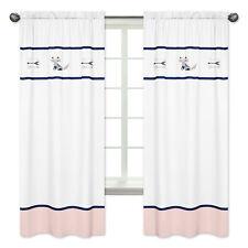 White Navy Pink Window Treatment Panel Curtain For Sweet Jojo Fox Arrow Bedding