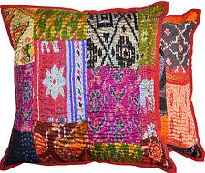 Set Of 2 Silk kantha Pillow Cover,Silk Kantha Decorative throw Pillow home decor