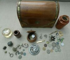 Wooden Chest of Jewellery, Coins, Silver, Roman and detecting finds