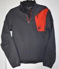 Mens Spyder 1/4 Zip Fleece Gray/Red S