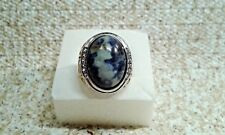 SODALITE, AUSTRIAN CRYSTAL, ION PLATED YG &  STAINLESS STEEL MENS RING-11
