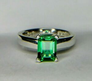 Tiffany & Co. 2.00 Carat Emerald Cut Green Natural Topaz Sterling Silver Ring