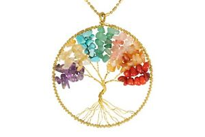 Handmade Necklace Tree of Life Brass with Bead, Crystal and Stone