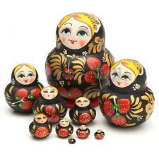 10 in 1 Hand Painted Wooden Matryoshka Nesting Toys Russian Stacking Dolls Decor