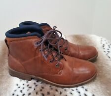 NIB NEW SONOMA BROWN HIKING faux leather boy ankle boots sz 4 youth $55.00