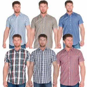 Mens Short Sleeve Check Shirt Top Smart Work Casual Summer Light Big / Plus Size