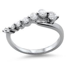 0.51ct Round Brilliant Cut Diamond Half Eternity Journey Ring in 18K White Gold