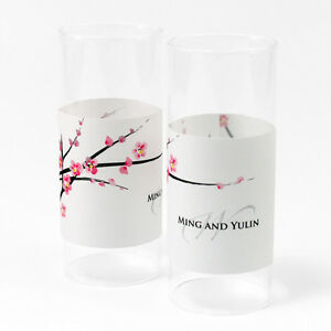 48 Cherry Blossom Personalized Mini Tealight Luminaries Candle Wedding Favors