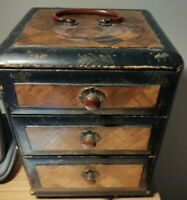 Antique Japanese Mini Drawers with parquetry inlay 17cm by 13cm