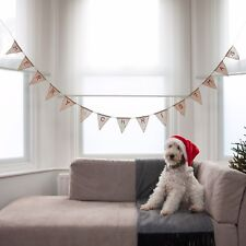 Festive Merry Christmas Hessian Bunting by Ginger Ray Christmas decoration