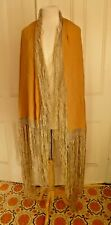Lovely Antique Gold Silk Italian Shawl with Woven Fringe