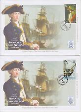 British INDIAN OCEAN TERRITORY FDC x 2 battaglia di Trafalgar BICENTENARIO Nelson