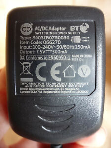 BT Home Cordless Phone Plugs Power Adapter Cables Multi Listing 066270