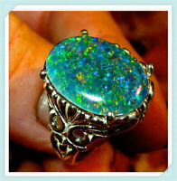 Women 925 Silver Plated Ring White Fire Opal Moon Stone Wedding Engagement Gift