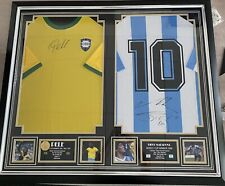 More details for framed 1970 pelé and maradona 1986 world cup winning shirts with signing proof