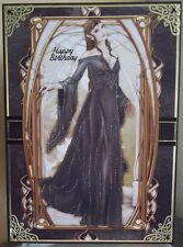 HANDMADE GOTHIC PAGAN BIRTHDAY CARD A LADY ELF IN BLACK, LORD OF THE RINGS