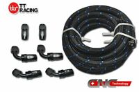 AN-6 Stainless Nylon Braided Oil Fuel Line+Black Fitting Hose End Kit 12FT=3.5M