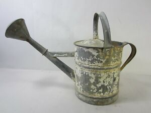 Vintage 1 Gallon Galvanized Watering Can w/White Chippy Paint