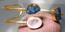 925 silver 19gr cut moonstone & rough apatite stones gold plated cuff bangle.