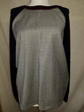 J Crew Glen Plaid Panel Sweater Sz L Navy Black White Thin Knit Merino VEUC Cute