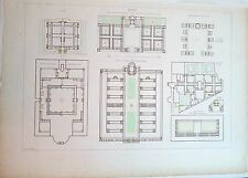 Gravure de Le Pagelet, Plan d'architecture, Hôpitaux