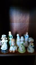 Vintage Lot of 7 Bells Girls+Ladies in dresses Ceramic Porcelain Ornate Bells