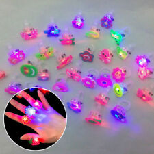 10Pcs Kids LED Flashing Glow in Dark Finger Light Ring Xmas Party Funny Toys
