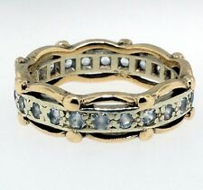 Vintage 9Ct Yellow & White Gold Spinel Fancy Eternity Ring (Size N) 5.5mm Wide