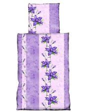 2 tlg Bettwäsche 135 x 200 cm Blumen flieder violett lavendel Garnitur
