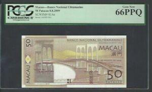 Macau 50 Patacas 8-8-2009 P81Aa Uncirculated Graded 66