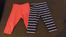 M&S 2 Pairs Cotton Rich Leggings 1 Plain, 1 Stripe 6-9m 72cm Navy Mix/Pink BNWT