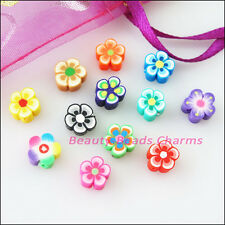 30Pcs Mixed Handmade Polymer Fimo Clay Star Flower Flat Spacer Beads Charms 8mm